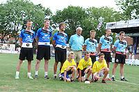 KAATSEN: LEEUWARDEN: 20-07-2014, Rengersdag, Menno van Zwieten, Marten Feenstra en Pier Piersma zijn in Leeuwarden winnaar geworden van de Rengersdag.©foto Martin de Jong
