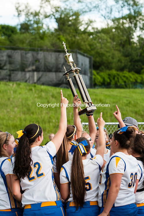 SEYMOUR, CT-30 May 2014-053014EC06-  Seymour reacts after beating Torrington, 2-1, to win the NVL softball championship at Woodland Friday. Erin Covey Republican-American
