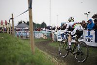 U23 World Champion Eli Iserbyt (BEL/Telenet-Fidea) leading the race<br /> <br /> Noordzeecross - Middelkerke 2016