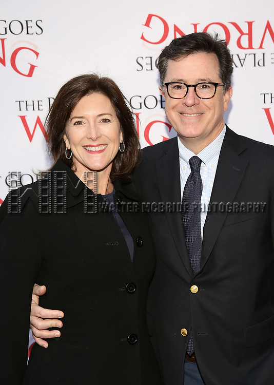 Evelyn McGee-Colbert and Stephen Colbert attend 'The Play That Goes Wrong' Broadway Opening Night at the Lyceum Theatre on April 2, 2017 in New York City.