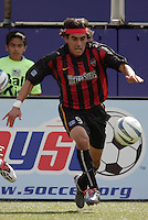 The MetroStars' Sergio Galvan Rey. The San Jose Earthquakes were shut out by  the NY/NJ MetroStars 2-0 at Giant's Stadium, East Rutherford, NJ, on July 10, 2004.