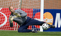 USA's Kasey Keller during practice in Hamburg, Germany, for the 2006 World Cup, June, 9, 2006.