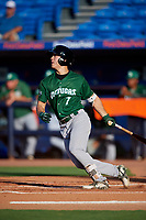 Daytona Tortugas center fielder Stuart Fairchild (7) follows through on a swing during a game against the St. Lucie Mets on August 3, 2018 at First Data Field in Port St. Lucie, Florida.  Daytona defeated St. Lucie 3-2.  (Mike Janes/Four Seam Images)