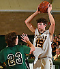 Anthony Reilly #15 of Oyster Bay, right, looks to make a pass as Matthew Morrison #23 of Carle Place guards him during the Nassau County varsity boys basketball Class B final at SUNY Old Westbury on Thursday, Feb. 23, 2017. Oyster Bay won by a score of 51-31.