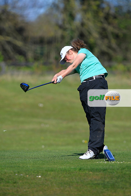 Annabel Wilson (Lurgan) on the 1st tee during Round 3 of the Irish Girl's Open Stroke Play Championship at Roganstown Golf &amp; Country Club on Sunday 17th April 2016.<br /> Picture:  Thos Caffrey / www.golffile.ie
