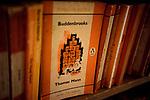 inside Barter Books store in Alnick, Northumberland, England Penguin books on a shelf