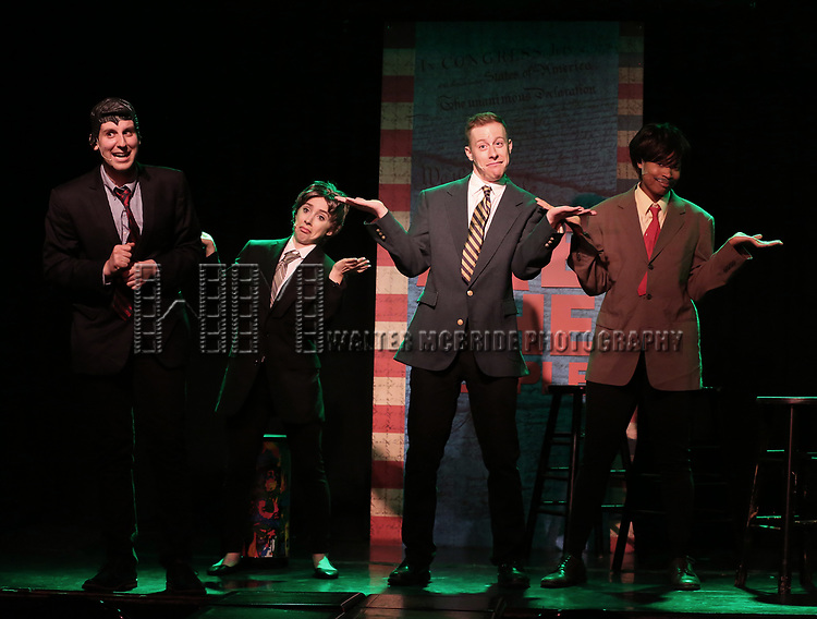 Richard Spitaletta, Mia Weinberger, Mitchel Kawash and Aiesha Dukes perform onstage during the 'ME THE PEOPLE: The Trump America Musical' Press Preview Presentation at The Triad Theater on June 21, 2017 in New York City.
