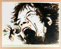 BNPS.co.uk (01202 558833)<br /> Pic: OmegaAuctions/BNPS<br /> <br /> PICTURED: Mick Jagger belts out a tune<br /> <br /> A huge collection of artwork by legendary Rolling Stones singer Ronnie Wood has emerged for sale for a whopping £25,000.<br /> <br /> The group of 49 prints have been created by the 72-year-old rocker over a number of years and depict a host of famous faces.<br /> <br /> Among the celebrities to be given the artist's treatment are the likes of Mohammed Ali, Elvis Presley and even his own bandmates.
