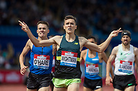 (1 Mile Men - Emsley Carr Mile) Jake WIGHTMAN of GBR wins (3.54.92) with Chris O'HARE of GBR in 2nd (3.55.01) during the Muller Grand Prix Birmingham Athletics at Alexandra Stadium, Birmingham, England on 20 August 2017. Photo by Andy Rowland.
