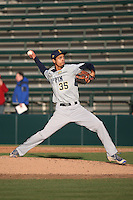 Devin Rivera Ozuna #35 of the Coppin State Eagles pitches against the Southern California Trojans at Dedeaux Field on February 18, 2017 in Los Angeles, California. Southern California defeated Coppin State, 22-2. (Larry Goren/Four Seam Images)