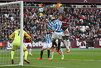 West Ham United's Michail Antonio hits the bar with a first half header<br /> <br /> Photographer Rob Newell/CameraSport<br /> <br /> The Premier League - West Ham United v Huddersfield Town - Saturday 16th March 2019 - London Stadium - London<br /> <br /> World Copyright © 2019 CameraSport. All rights reserved. 43 Linden Ave. Countesthorpe. Leicester. England. LE8 5PG - Tel: +44 (0) 116 277 4147 - admin@camerasport.com - www.camerasport.com