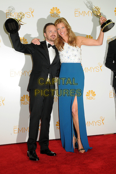 25 August 2014 - Los Angeles, California - Aaron Paul, Anna Gunn. 66th Annual Primetime Emmy Awards - Press Room held at Nokia Theatre LA Live. <br /> CAP/ADM/BGP<br /> &copy;BGP/ADM/Capital Pictures