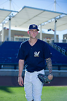 AZL Brewers pitcher Bowden Francis (60) poses for a photo prior to a game against the AZL Cubs at Maryvale Baseball Park in Phoenix, Arizona. AZL Cubs defeated the AZL Brewers 9-1. (Zachary Lucy/Four Seam Images)
