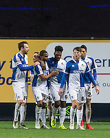 Teammates celebrate with winning goal scorer Ellis Harrison (9) of Bristol Rovers    during the Sky Bet League 2 match between Oxford United and Bristol Rovers at the Kassam Stadium, Oxford, England on 17 January 2016. Photo by Andy Rowland / PRiME Media Images.