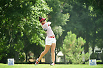 HOUSTON, TX - MAY 19: Pilar Echeverria of the University of Indianapolis tees off during the Division II Women's Golf Championship held at Bay Oaks Country Club on May 19, 2018 in Houston, Texas. Echeverria finished tied for second at one over par for a score of 289. (Photo by Justin Tafoya/NCAA Photos via Getty Images)