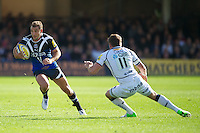 Olly Barkley of Bath Rugby looks for space around Mark Cueto of Sale Sharks during the Aviva Premiership match between Bath Rugby and Sale Sharks at the Recreation Ground on Saturday 29th September 2012 (Photo by Rob Munro)