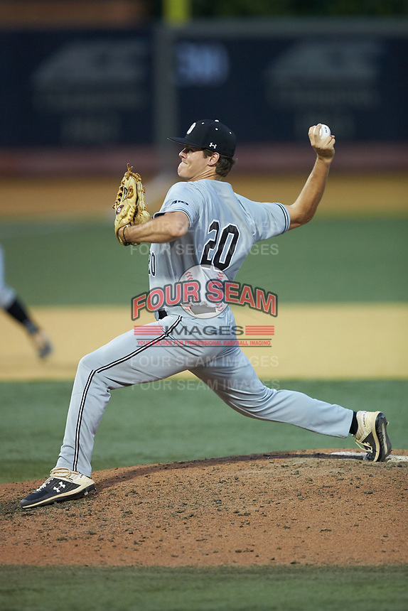 Davidson Wildcats relief pitcher Alex Fenton (20) in action against the Wake Forest Demon Deacons at David F. Couch Ballpark on May 7, 2019 in  Winston-Salem, North Carolina. The Demon Deacons defeated the Wildcats 11-8. (Brian Westerholt/Four Seam Images)