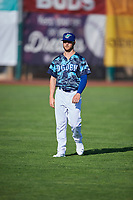 Andrew Shaps (14) of the Ogden Raptors before the game against the Grand Junction Rockies at Lindquist Field on June 14, 2019 in Ogden, Utah. The Raptors defeated the Rockies 12-0. (Stephen Smith/Four Seam Images)