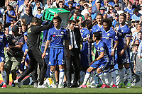 Chelsea coaching staff tip a large bucket of ice water over the head of Chelsea Manager, Antonio Conte during Chelsea vs Sunderland AFC, Premier League Football at Stamford Bridge on 21st May 2017