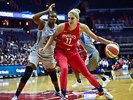 Washington, DC - May 27, 2018: Washington Mystics guard Elena Delle Donne (11) makes a move to the basket against Minnesota Lynx guard Seimone Augustus (33) during game between the Mystics and Lynx at the Capital One Arena in Washington, DC. (Photo by Phil Peters/Media Images International)