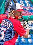 5 March 2015: Washington Nationals infielder Emmanuel Burriss awaits his turn in the batting cage prior to a Spring Training game against the New York Mets at Space Coast Stadium in Viera, Florida. The Nationals rallied to defeat the Mets 5-4 in Grapefruit League play. Mandatory Credit: Ed Wolfstein Photo *** RAW (NEF) Image File Available ***