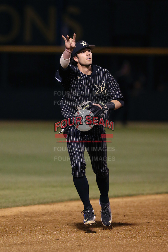 Dansby Swanson (7) of the Vanderbilt Commodores in the field during a game against the UCLA Bruins at Jackie Robinson Stadium on March 06, 2015 in Los Angeles, California. Vanderbilt defeated UCLA, 6-0. (Larry Goren/Four Seam Images)