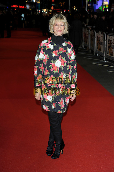 Edith Bowman.'Gambit' world film premiere, Empire cinema, Leicester Square, London, England..7th November 2012.full length black pink white floral print green red jacket cat high collar polo neck turtleneck top trousers .CAP/PL.©Phil Loftus/Capital Pictures.