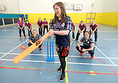 This image is FREE to use in all accredited media, courtesy of Cricket Scotland - Scotland's Minister of Health and Sport (today 24th Jan) tried her hand at cricket with the Captain and opening bat of Scotland's women's national team. The women's squad are currently preparing for an ICC Global Qualifier in Sri Lanka and will depart on Sunday for two warm-up games against Ireland in Dubai ahead of the Qualifiers in two weeks time. Scotland will face some tough opposition at the ICC Global Qualifier where they will face South Africa (8 February), Bangladesh (10 February), Papa New Guinea (11 February) and Pakistan (13 February) - picture shows Aileen Campbell, Minister of Health and Sport, suitably wearing a Scotland international shirt with Scotland Capt Abbi Aitken (left) and opening bat Oli Rae at Fettes School (with some of the school's girls cricketers) - for further information please contact Ben Fox, Cricket Scotland on 0131 313 7420 or at benfox@cricketscotland.com - picture by Donald MacLeod - 24.01.2017 - 07702 319 738 - clanmacleod@btinternet.com - www.donald-macleod.com