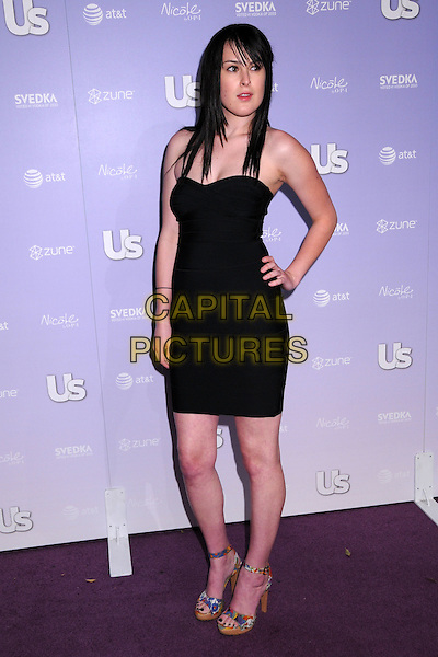 RUMER WILLIS .US Weekly's Hot Hollywood 2008 Party at Beso Restaurant, Hollywood, California, USA..April 17th, 2008.full length black strapless dress hand on hip platform shoes multicoloured multicolored .CAP/ADM/BP.©Byron Purvis/AdMedia/Capital Pictures.