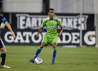 James Riley of Sounders in action during the game against the Earthquakes at Buck Shaw Stadium in Santa Clara, California on July 31st, 2010.   Seattle Sounders defeated San Jose Earthquakes, 1-0.
