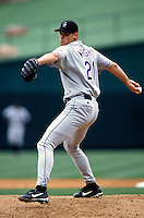 Jamey Wright of the Colorado Rockies plays in a baseball game at Edison International Field during the 1998 season in Anaheim, California. (Larry Goren/Four Seam Images)