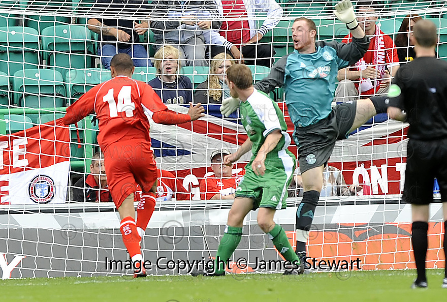 02/08/2008  Collect Pic: James Stewart.File Name : sct_jspa14_hibs_v_middlesbrough.ALFONSO ALVES SCORES MIDDLEBROUGH'S FIRST.James Stewart Photo Agency 19 Carronlea Drive, Falkirk. FK2 8DN      Vat Reg No. 607 6932 25.Studio      : +44 (0)1324 611191 .Mobile      : +44 (0)7721 416997.E-mail  :  jim@jspa.co.uk.If you require further information then contact Jim Stewart on any of the numbers above........