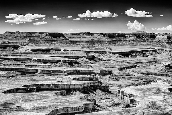 Black and white infrared image of Green River Overlook in Canyonlands National Park.