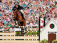 LEXINGTON, KY - April 30, 2017. #24 Qalao Des Mers and Maxime Livio from France finish in 2nd place at the Rolex Three Day Event at the Kentucky Horse Park.  Lexington, Kentucky. (Photo by Candice Chavez/Eclipse Sportswire/Getty Images)