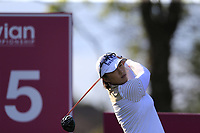 Amy Yang (KOR) tees off the 15th tee during Friday's Round 2 of The Evian Championship 2018, held at the Evian Resort Golf Club, Evian-les-Bains, France. 14th September 2018.<br /> Picture: Eoin Clarke | Golffile<br /> <br /> <br /> All photos usage must carry mandatory copyright credit (&copy; Golffile | Eoin Clarke)