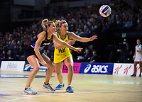 Katrina Rore and Liz Watson in action during the Constellation Cup Netball Series match between the New Zealand Silver Ferns and Australia Diamonds at Horncastle Arena in Christchurch, New Zealand on Sunday, 13 October 2019. Photo: Dave Lintott / lintottphoto.co.nz