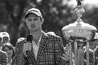 Justin Rose (GBR) speaks to the crowd after donning his new plaid jacket for winning the Fort Worth Invitational, The Colonial, at Fort Worth, Texas, USA. 5/27/2018.<br /> Picture: Golffile | Ken Murray<br /> <br /> All photo usage must carry mandatory copyright credit (© Golffile | Ken Murray)