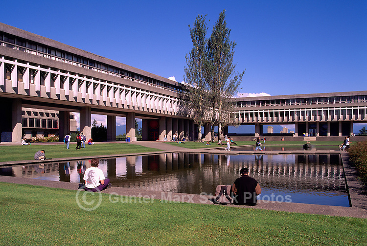 Simon Fraser University (SFU) Campus Building on Burnaby Mountain, Burnaby, BC, British Columbia, Canada - Arthur Erickson Architect
