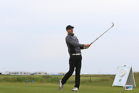 Reece Black (Hilton Templepatrick) on the 1st tee during Round 1of the Flogas Irish Amateur Open Championship 2019 at the Co.Sligo Golf Club, Rosses Point, Sligo, Ireland. 16/05/19<br /> <br /> Picture: Thos Caffrey / Golffile<br /> <br /> All photos usage must carry mandatory copyright credit (© Golffile | Thos Caffrey)