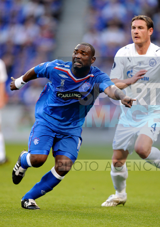 Jean-Claude Darcheville of Rangers says where he wants the ball during the Europa League Final match at The Etihad Stadium, Manchester. Picture date 14th May 2008. Picture credit should read: Simon Bellis/Sportimage