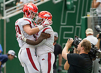 NWA Democrat-Gazette/BEN GOFF @NWABENGOFF<br /> Grayson Gunter (left), Arkansas tight end, congratulates Devwah Whaley, Arkansas running back, after he scored a touchdown in the 2nd quarter vs Colorado State Saturday, Sept. 8, 2018, at Canvas Stadium in Fort Collins, Colo.