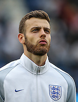Goalkeeper Angus Gunn (Manchester City) of England during the International EURO U21 QUALIFYING - GROUP 9 match between England U21 and Norway U21 at the Weston Homes Community Stadium, Colchester, England on 6 September 2016. Photo by Andy Rowland / PRiME Media Images.