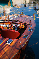 A wooden motorboat on show during the bi-annual Wooden Boat Festival in Sullivans Cove.  Hobart, Tasmania, AUSTRALIA