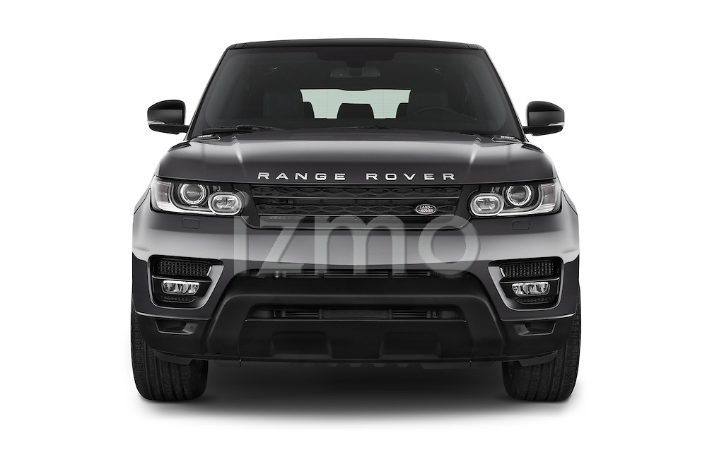 Car photography straight front view of a 2015 Land Rover RANGE ROVER SPORT HSE Dynamic 5 Door SUV Front View