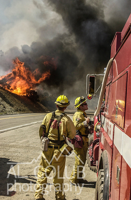 August 19, 2001 Coulterville, California  -- Creek Fire – CDF firefighters just after fire jumped across Highway 49. The Creek Fire burned 11,500 acres between Highway 49 and Priest-Coulterville Road a few miles north of Coulterville, California.
