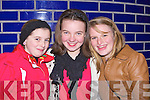 Naoishe Pursell, Caoilaim O'Sullivan and Ciara Halliday Killorglin having fun at the switching on of the Christmas lights on the Memory Tree in Killorglin on Saturday night in aid of the Irish Pilgrimage Trust