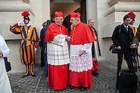 Vatican City, November 19, 2016.Alcuni cardinali lasciano la Basilica di San Pietro al termine della cerimonia di canonizzazione. Cardinals leave the St. Peter Basilica at the end of the consistory ceremony.