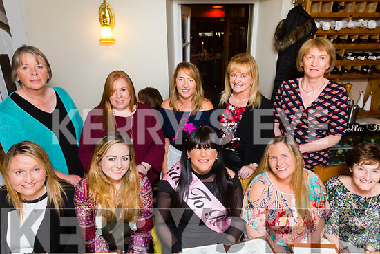Kerry Donegan, Ardfert, who's marring Douglas Roche, Abbeydorney, Celebrating her hen nite at Bella bia's on Friday was Pictured front l-r Cara Fitzgerald, Coleen O'Shea, Kerry Donogan, Maura O'Sullivan, Loretta Sheehy Back l-r Bred Lenard, Mairead Kissane, Mags Lacey, Verona Mcassey and Veronica Kirby