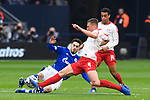 16.03.2019, VELTINS Arena, Gelsenkirchen, Deutschland, GER, 1. FBL, FC Schalke 04 vs. RB Leipzig<br /> <br /> DFL REGULATIONS PROHIBIT ANY USE OF PHOTOGRAPHS AS IMAGE SEQUENCES AND/OR QUASI-VIDEO.<br /> <br /> im Bild Zweikampf zwischen Suat Serdar (#8 Schalke) und Willi Orban (#4 Leipzig), Tyler Adams (#14 Leipzig)<br /> <br /> Foto © nordphoto / Kurth