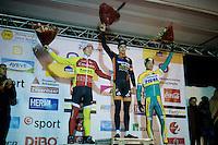podium boys: 1/ 19yr old Wout Van Aert (BEL/Vastgoedservice-Golden Palace), 2/ 20yr old Laurens Sweeck (BEL/Corendon-Kwadro) & 3/ 26yr old Tom Meeusen (BEL/Telenet-Fidea)<br /> <br /> Zilvermeercross 2014
